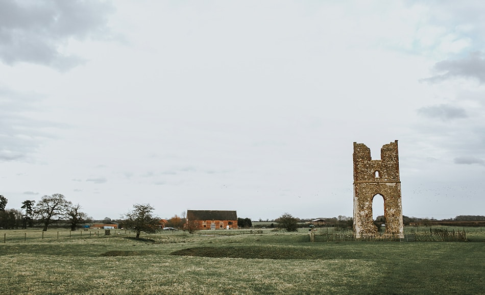 Darina Stoda's stark winter image of Godwick's ruins with the great barn in the distance